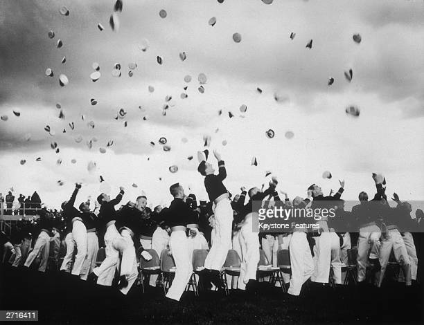 Graduating cadets of the US Air Force Academy in Colorado celebrate at their passing out ceremony