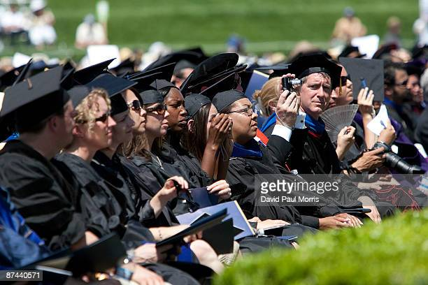 Graduating class of 2009 UC Merced listen as First Lady Michelle Obama delivers the commencement speech at the University of California, Merced on...