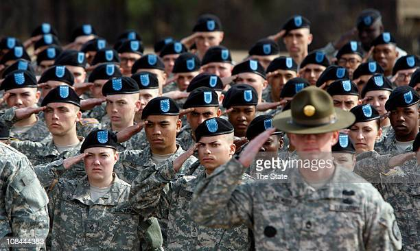 Graduating soldiers with 1st Battalion 34th Infantry Regiment salute during the National Anthem at Fort Jackson Thursday January 27 in Columbia South...