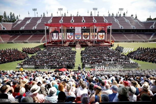 Graduating Stanford University students attend the 128th Stanford University commencement ceremony on June 16, 2019 in Stanford, California.