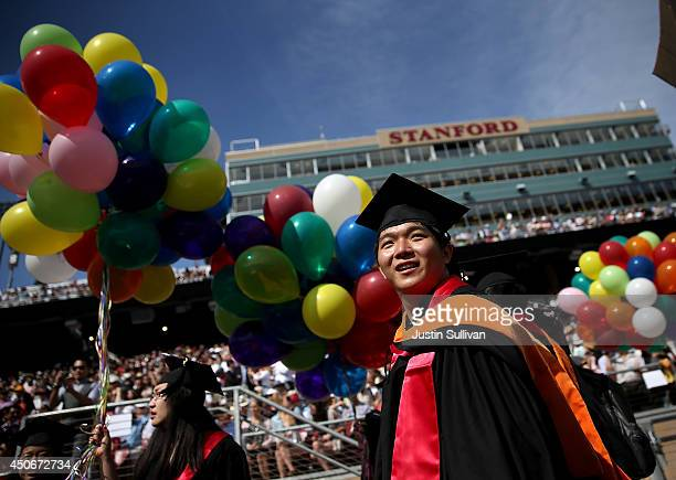 Graduating Stanford University students partcipate in the Wacky Walk before the start of the 123rd Stanford commencement ceremony June 15 2014 in...