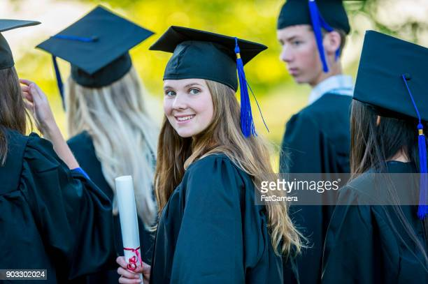 graduating student - highschool stock photos and pictures