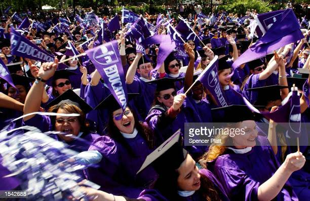 Graduating students celebrate during commencement exercises May 16 2002 at New York University in New York City The ceremony was NYU's one hundred...