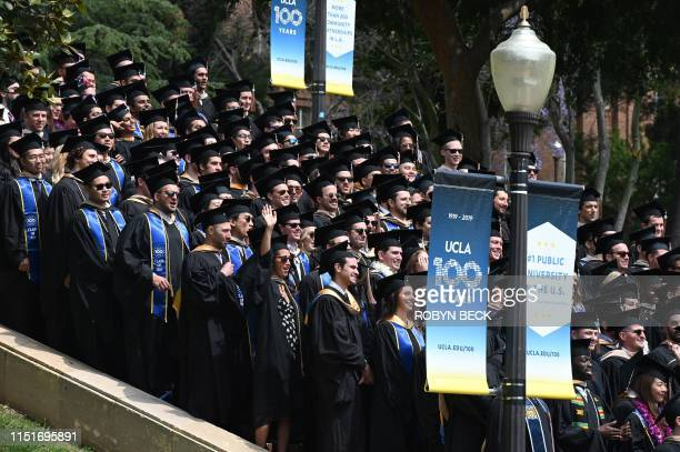Graduating students pose for a class picture at the University of California Los Angeles June 14 2019 in Los Angeles California With 45 million...