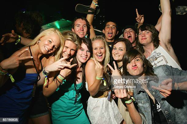 Graduating year 12 students celebrate during the opening night of Schoolies week in Surfers Paradise on November 21 2008 on the Gold Coast Australia...