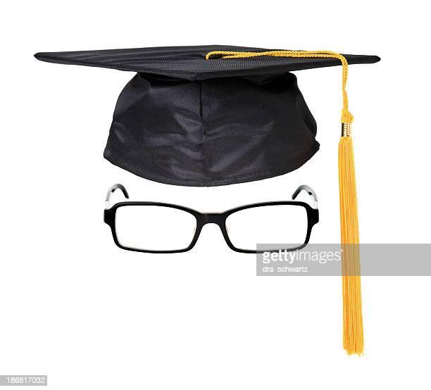 Graduation cap and glasses