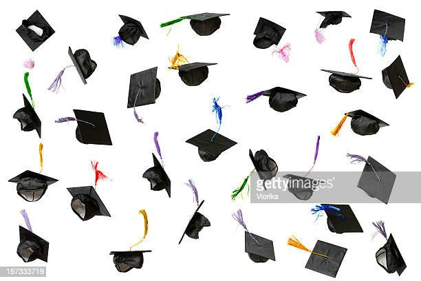 graduation caps (isolated on white) - hat stock pictures, royalty-free photos & images