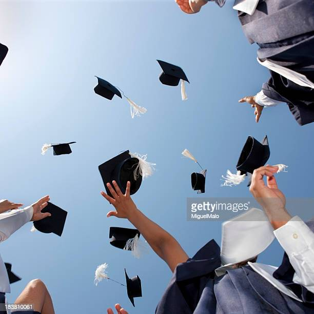 Graduation Caps Thrown in the Sky