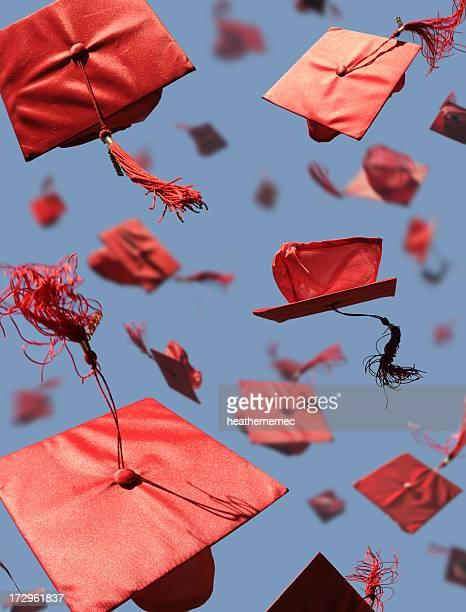 Graduation Caps with motion blur