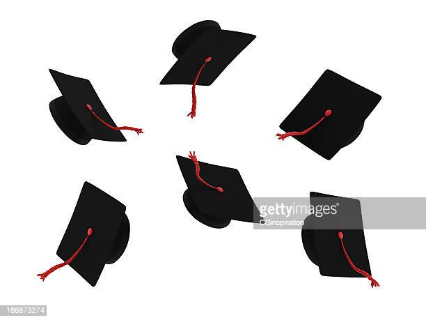 graduation caps with red testicles on a white background - graduation background stock pictures, royalty-free photos & images