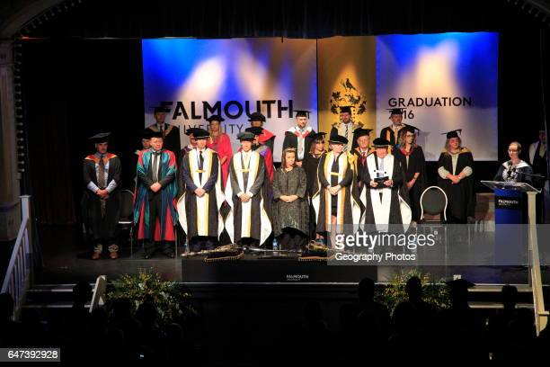 Graduation ceremony 2016 University of Falmouth Cornwall England UK Dawn French in center