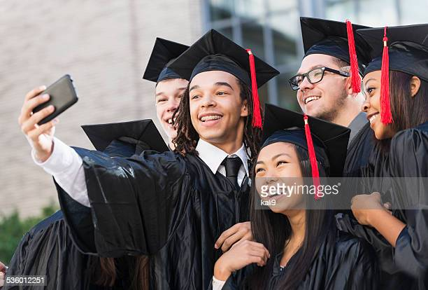 graduation selfie - highschool stock photos and pictures