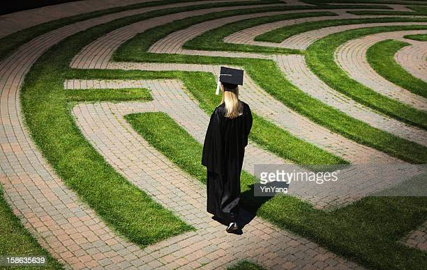 Graduation Student Entering Maze Path Uncertain, Seeking Occupation, Employment, Goals