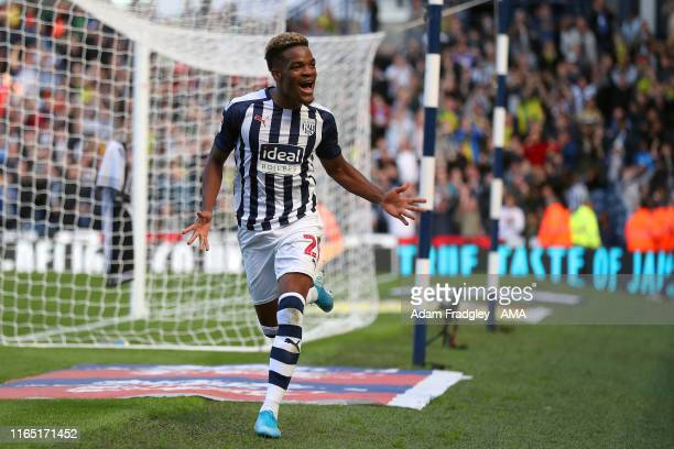 Grady Diangana of West Bromwich Albion celebrates after scoring a goal to make it 3-1 during the Sky Bet Championship match between West Bromwich...