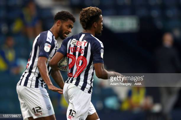 Grady Diangana of West Bromwich Albion celebrates after scoring a goal to make it 11 during the Sky Bet Championship match between West Bromwich...