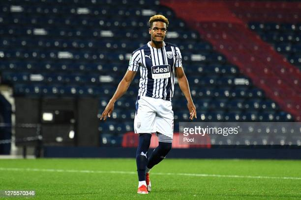 Grady Diangana of West Bromwich Albion reacts after his penalty is saved during the penalty shootout during the Carabao Cup Third Round match between...