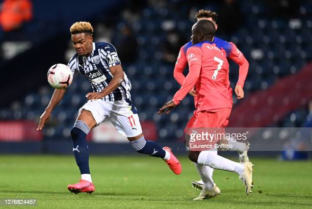 Grady Diangana of West Bromwich Albion runs with the ball during the Premier League match between West Bromwich Albion and Chelsea at The Hawthorns...
