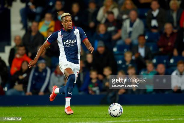 Grady Diangana of West Bromwich Albion runs with the ball during the Sky Bet Championship match between West Bromwich Albion and Derby County at The...