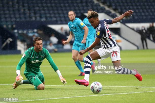 Grady Diangana of West Bromwich Albion scores a goal to make it 1-0 during the Sky Bet Championship match between West Bromwich Albion and Derby...