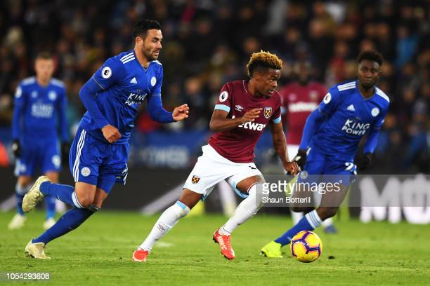 Grady Diangana of West Ham United breaks through during the Premier League match between Leicester City and West Ham United at The King Power Stadium...