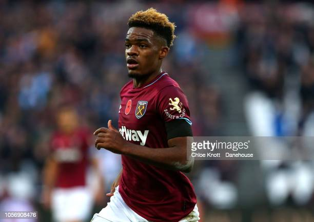 Grady Diangana of West Ham United in action during the Premier League match between West Ham United and Burnley FC at London Stadium on November 03...