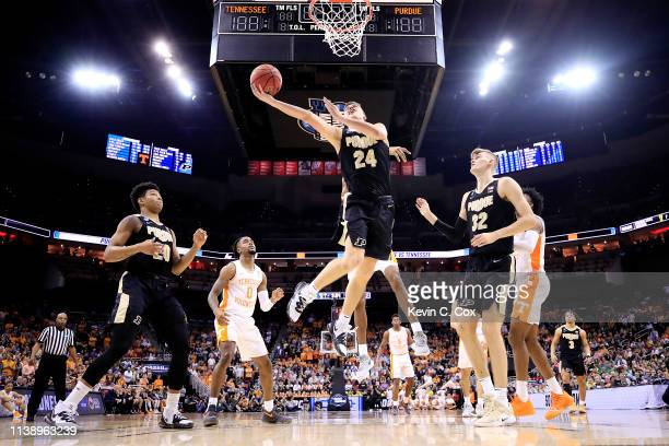 Grady Eifert of the Purdue Boilermakers attempts a layup against the Tennessee Volunteers during the 2019 NCAA Men's Basketball Tournament South...