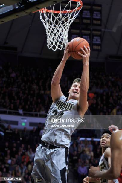 Grady Eifert of the Purdue Boilermakers rebounds the ball in the game against the Ball State Cardinalsat Mackey Arena on November 10 2018 in West...