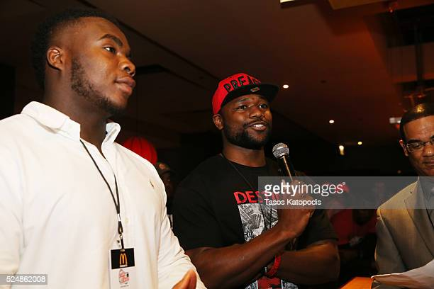 Grady Jarett of the Atlanta Falcons and Ty Mongomery of the Green Bay Packers at the Celebrity Bowling Classic at Lucky Strike Chicago during NFL...