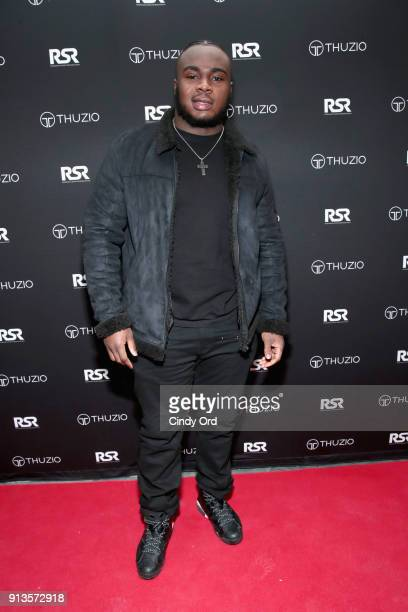 Grady Jarrett arrives at the Thuzio Rosenhaus Party during Super Bowl weekend at The Exchange Alibi Lounge on February 2 2018 in Minneapolis Minnesota