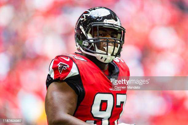 Grady Jarrett of the Atlanta Falcons looks on during a game against the Los Angeles Rams at Mercedes-Benz Stadium on October 20, 2019 in Atlanta,...