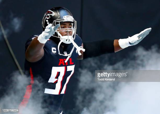 Grady Jarrett of the Atlanta Falcons prior to an NFL game against the Chicago Bears at Mercedes-Benz Stadium on September 27, 2020 in Atlanta,...