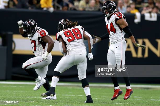 Grady Jarrett of the Atlanta Falcons reacts after a sack during a NFL game against the New Orleans Saints at the Mercedes Benz Superdome on November...