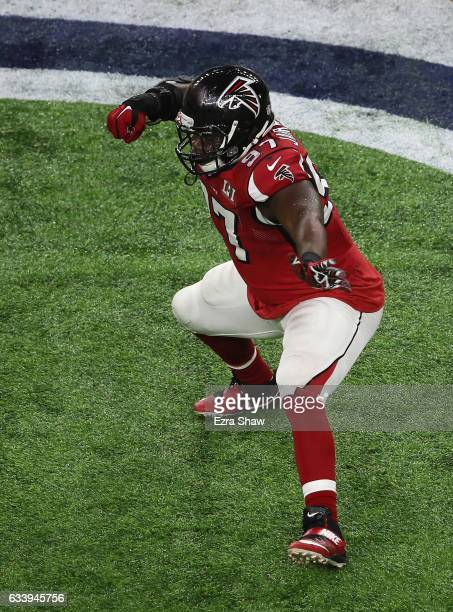 Grady Jarrett of the Atlanta Falcons reacts after a sack in the first quarter during Super Bowl 51 at NRG Stadium on February 5 2017 in Houston Texas