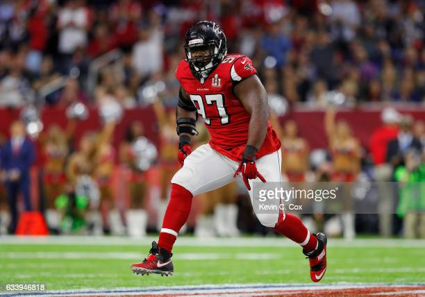Grady Jarrett of the Atlanta Falcons reacts after a sack in the first quarter against the New England Patriots during Super Bowl 51 at NRG Stadium on...