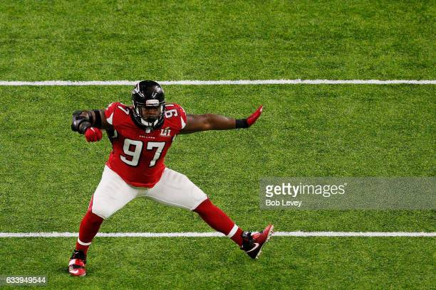 Grady Jarrett of the Atlanta Falcons reacts after sacking Tom Brady of the New England Patriots in the first quarter of Super Bowl 51 at NRG Stadium...