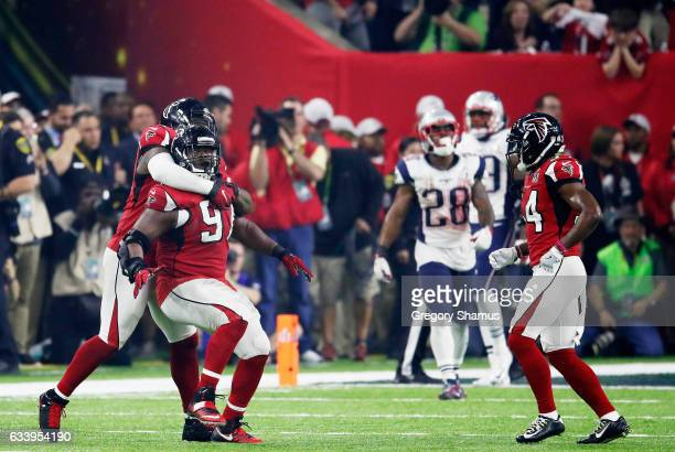 Grady Jarrett of the Atlanta Falcons reacts after sacking Tom Brady of the New England Patriots in the fourth quarter during Super Bowl 51 at NRG...