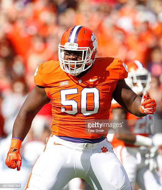 Grady Jarrett of the Clemson Tigers celebrates after a tackle during the game against the North Carolina State Wolfpack at Memorial Stadium on...