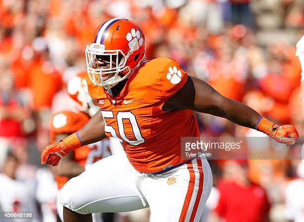 Grady Jarrett of the Clemson Tigers reacts after making a tackle during the game against the North Carolina State Wolfpack at Memorial Stadium on...