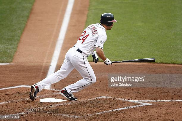 Grady Sizemore of the Cleveland Indians connects for a hit during the game against the Colorado Rockies on June 22 2011 at Progressive Field in...