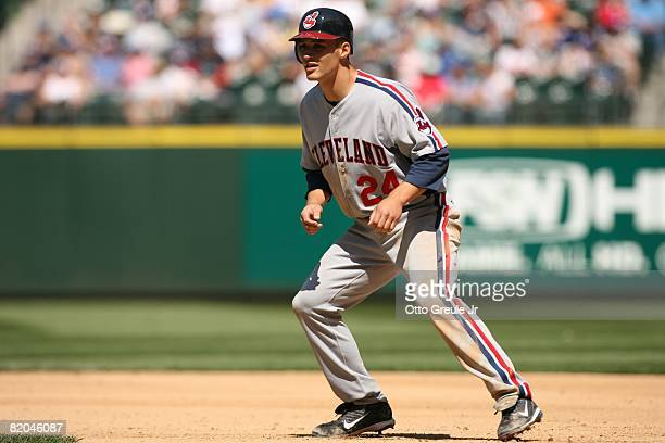 Grady Sizemore of the Cleveland Indians leads off against the Seattle Mariners on July 19, 2008 at Safeco Field in Seattle, Washington.