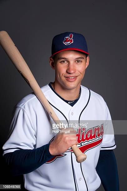 Grady Sizemore of the Cleveland Indians poses during their photo day at the Cleveland Indians Spring Training Complex on February 22 2011 in Goodyear...