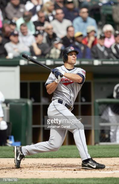 Grady Sizemore of the Cleveland Indians swings during the opening day game against the Chicago White Sox on April 2 2007 at US Cellular Field in...
