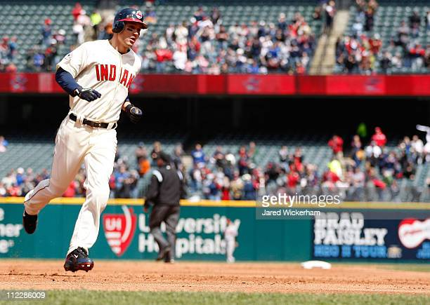 Grady Sizemore of the Cleveland Indians trots around third base after hitting a solo home run against the Baltimore Orioles during the game on April...