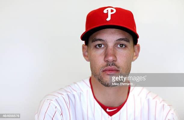 Grady Sizemore of the Philadelphia Phillies poses for a portrait during photo day at Brighthouse Stadium on February 27 2015 in Clearwater Florida