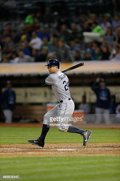 Grady Sizemore of the Tampa Bay Rays bats during the game against the Oakland Athletics at Oco Coliseum on August 21 2015 in Oakland California The...