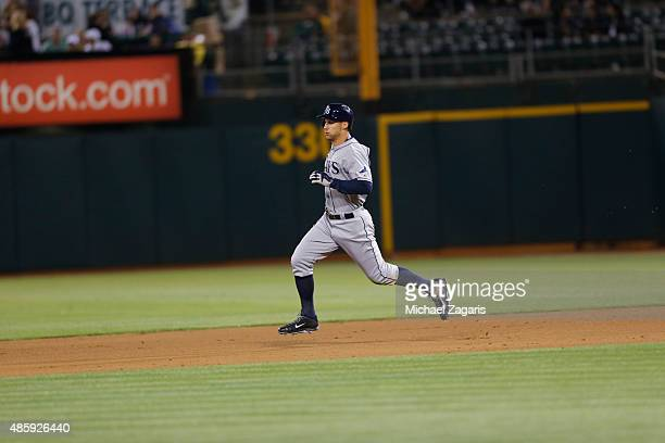 Grady Sizemore of the Tampa Bay Rays runs the bases during the game against the Oakland Athletics at Oco Coliseum on August 21 2015 in Oakland...
