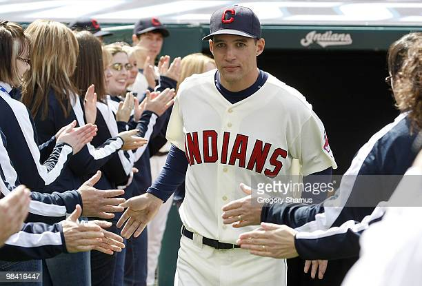 Grady Sizemore of the the Cleveland Indians is introduced to fans on Opening Day prior to playing the Texas Rangers on April 12 2010 at Progressive...