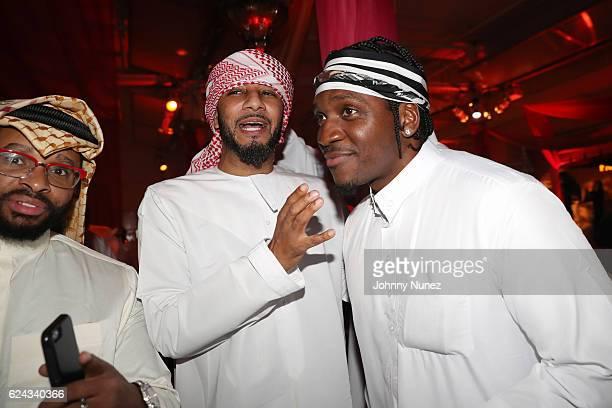 Grady Spivey Swizz Beatz and Pusha T attend Fabolous' A Night In FABU DHABI Birthday Celebration on November 18 2016 in New York City
