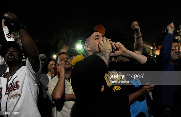 May 1: Grady Weekly, of the Army's 101st Airborne Division, celebrates outside of the White House after President Obama announced Osama bin Laden was...