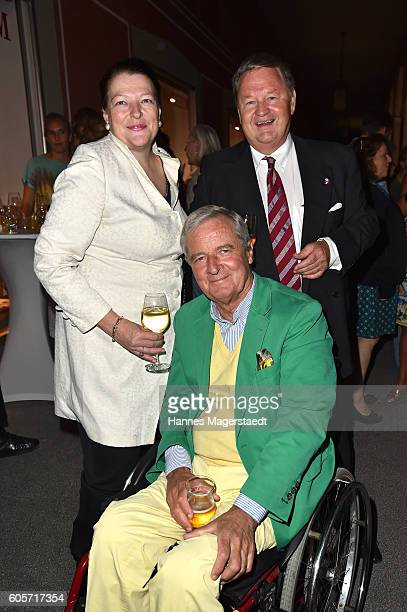 Graefin Christine von Esterhazy v and Prinz Peter zu Hohenlohe during a cocktail reception hosted by the Dorotheum on September 14 2016 in Munich...